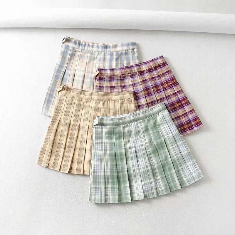 Vintage Plaid Mini Rok Vrouwen Koreaanse Streetwear Mode Preppy Stijl Dans Rok Zomer Student Meisjes Hoge Taille Broek Rokken