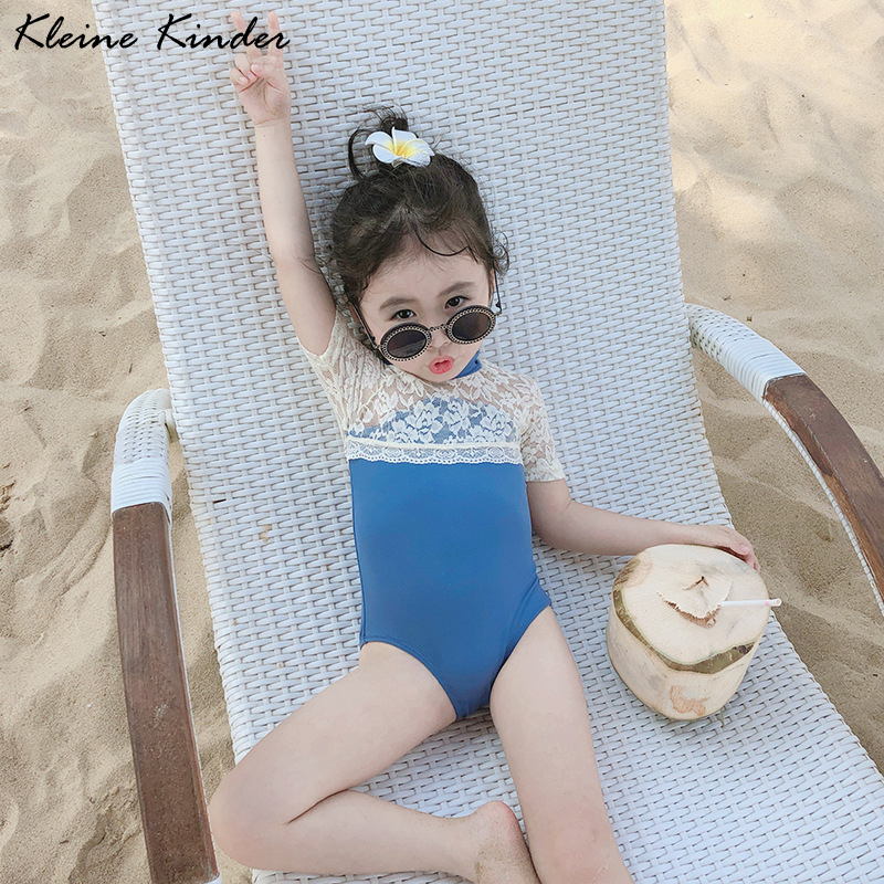1757.0¥ 52% OFF Swimwear Baby Girl Lace Patchwork Swimsuit One Piece for Girls 2020 New Toddler Bea...
