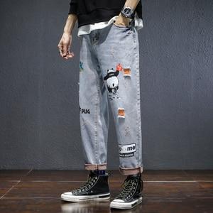 Image 5 - Pantalones vaqueros deportivos de nueve puntos, Primavera y novedad de verano, versión coreana de la pareja, informales, estampados, Hip Hop, 2019