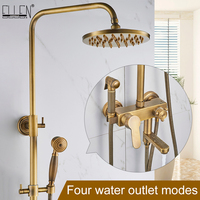 Rain Shower Set With Bidet Spray Faucet Antique Bronze Finished Bath Shower Sets 8 Shower Head Shower Faucets EL4010