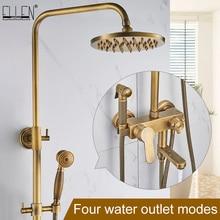 """Yağmur biçimli duş seti bide sprey musluk antik bronz bitmiş banyo duş setleri 8 """"duş başlığı duş musluk EL4010"""