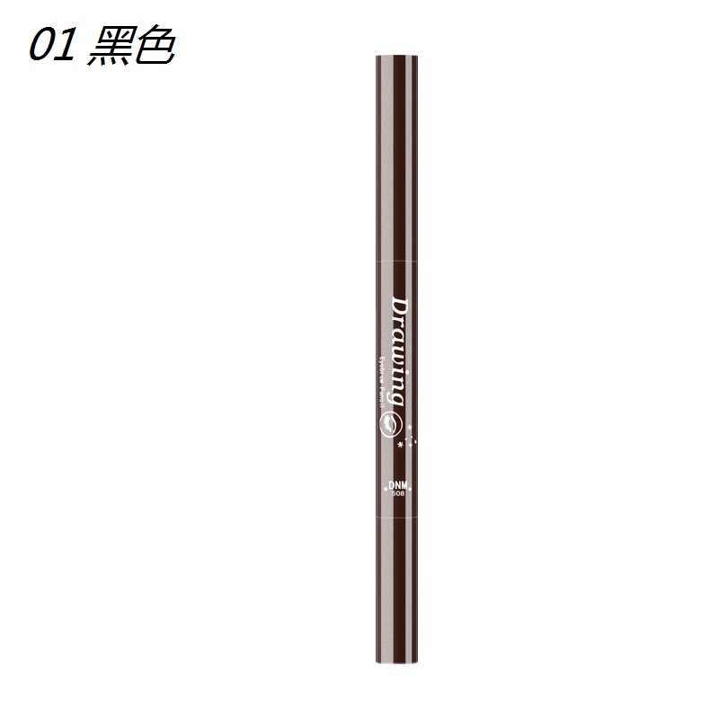 Çift başlı kaş kalemi kozmetik makyaj tonu uzun ömürlü boya dövme kaş su geçirmez 5 renk göz kaş makyaj TSLM1