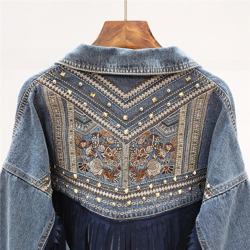 Rivet Embroidery Denim Jacket Women Tassel Patch Veste Femme Big size Loose Chaquetas Mujer Black Jeans Jacket Female Streetwear