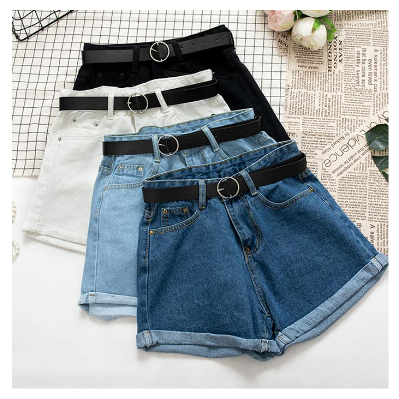 All Match Sashes Casual Women Denim Shorts Crimping High Waist Slim Summer Jeans Shorts Feminino Chic Hot Ladies Bottom XX025