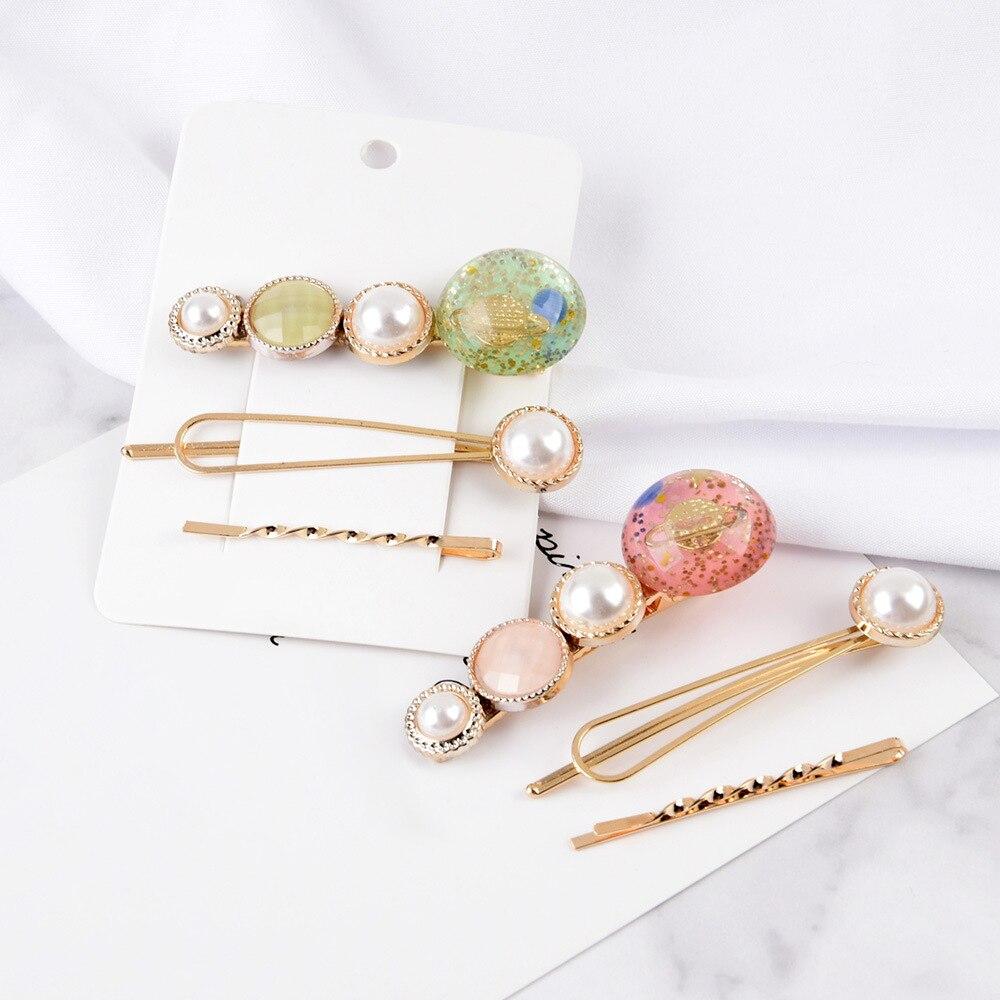3 Pcs Girls Beautiful Crown Pearl Button Clip Pearl Hairpins Women Girls Sweet Barrette Hair Clip Headwear Hair Accessories New