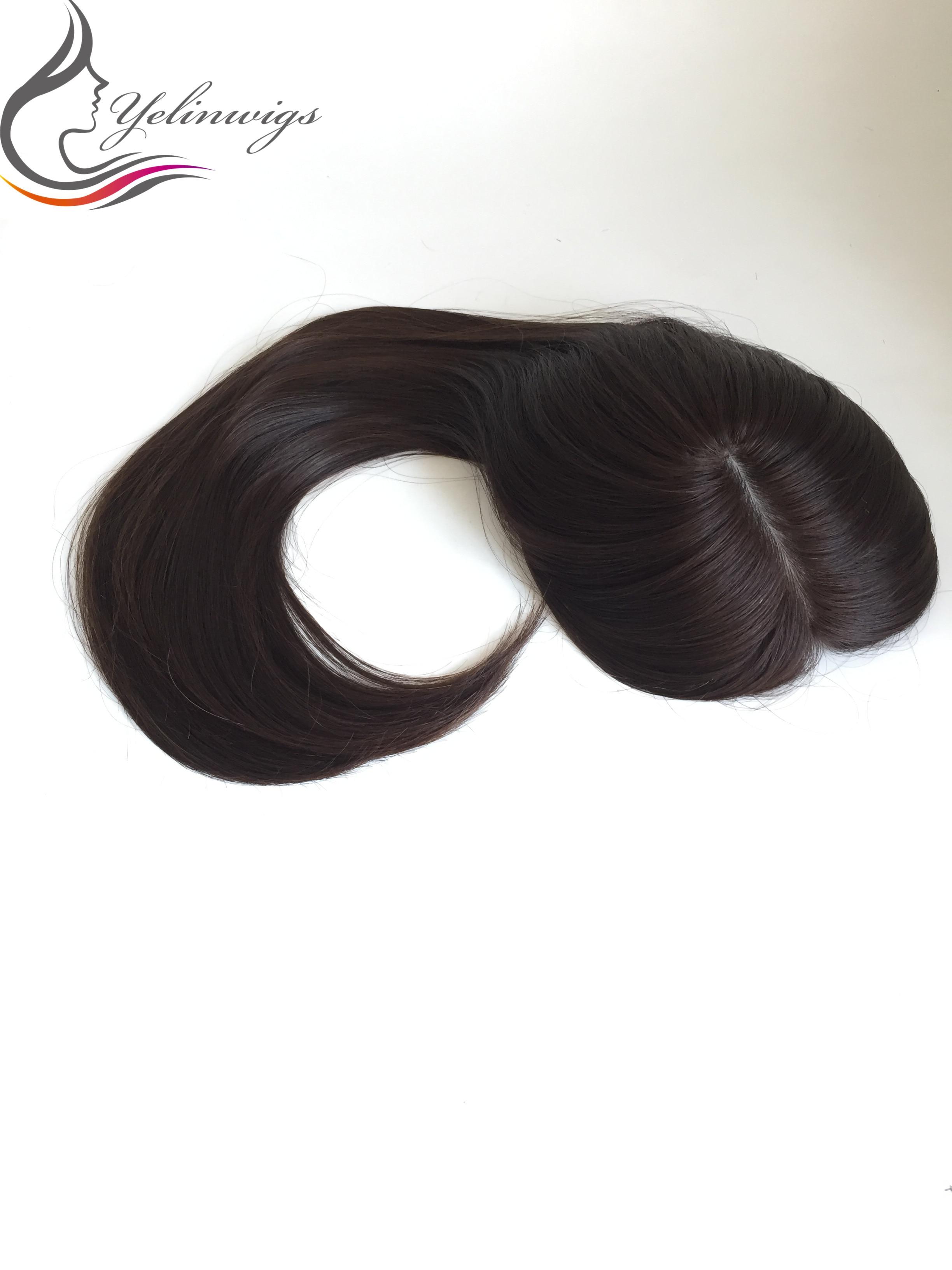 Natural Black Color Silk Top European Virgin Hair Toppers Kippah Fall For Jewish Women Hair Pieces