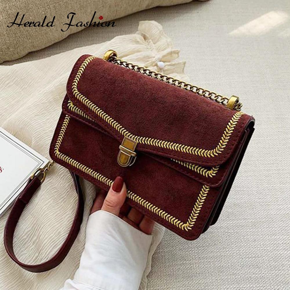 Scrub Leather Women Messenger Bag Famous Designer Vintage Ladies Shoulder Bag Lady Travel Luxury Chain Handbags And Purses
