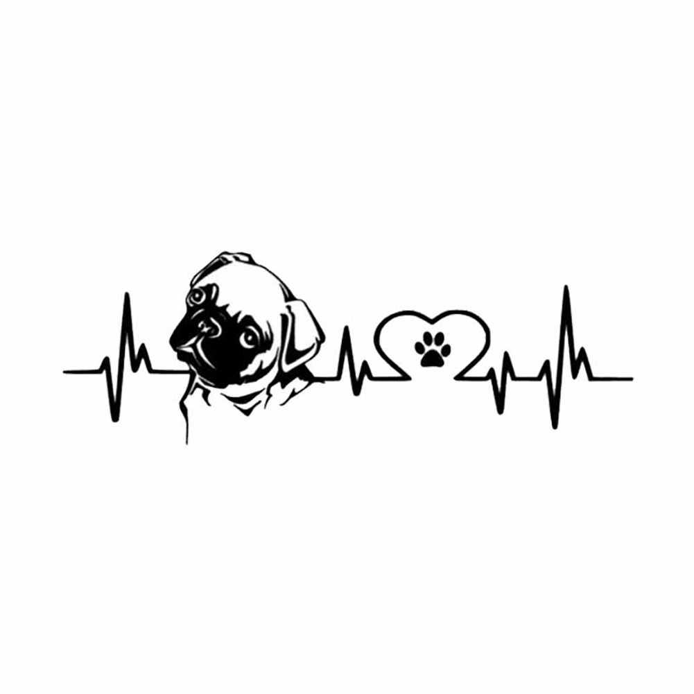 New Design Lovely Pug Dog Heartbeat Reflective Car Vehicle Body Window Car Decals Stickers Motorcycles Decoration 18cm x 6.1cm