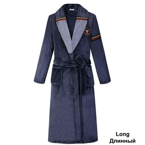 Image 2 - Yeşil kadın erkek mercan Kimono bornoz kıyafeti severler çift flanel kıyafeti kış Ultra kalın sıcak elbise pijama