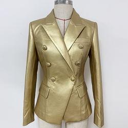HIGH QUALITY 2019 Baroques Designer Blazer Women's Double Breasted Metal Lion Buttons Gold Leather Jacket Blazer