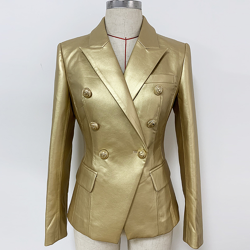 HIGH QUALITY 2020 Baroques Designer Blazer Women's Double Breasted Metal Lion Buttons Gold Leather Jacket Blazer