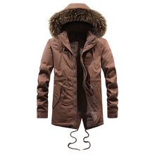 England Style Fashion Winter Jackets Men Fur Collar Hooded Coats Casual Outwear Velvet Thick Parka Men Warm Long Trench Hombre fashion winter jackets men hooded coats fur collar thick velvet long trench men parka outwear windproof casual warm jackets