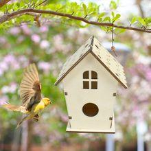 Wooden Bird House Nest DIY Handmade Crafts Decorative Simulated Box for Bluebird K1MF