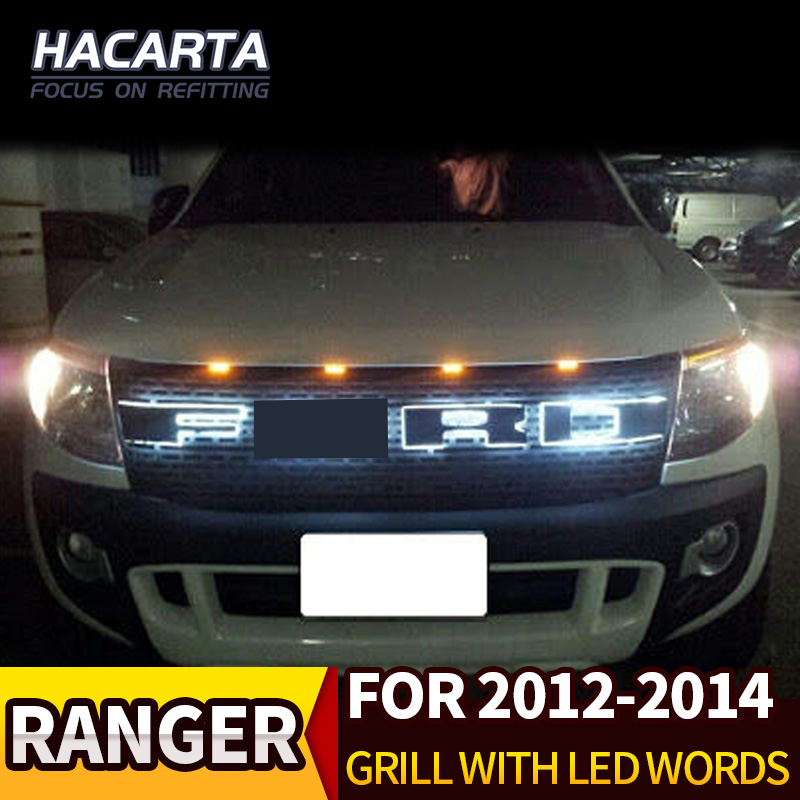 For Ford Ranger T6 LED Grill ABS Black Front Word Grille Suitable Ford Ranger Wildtrak 2012-2014 Pickup Ranger Decorative Grille