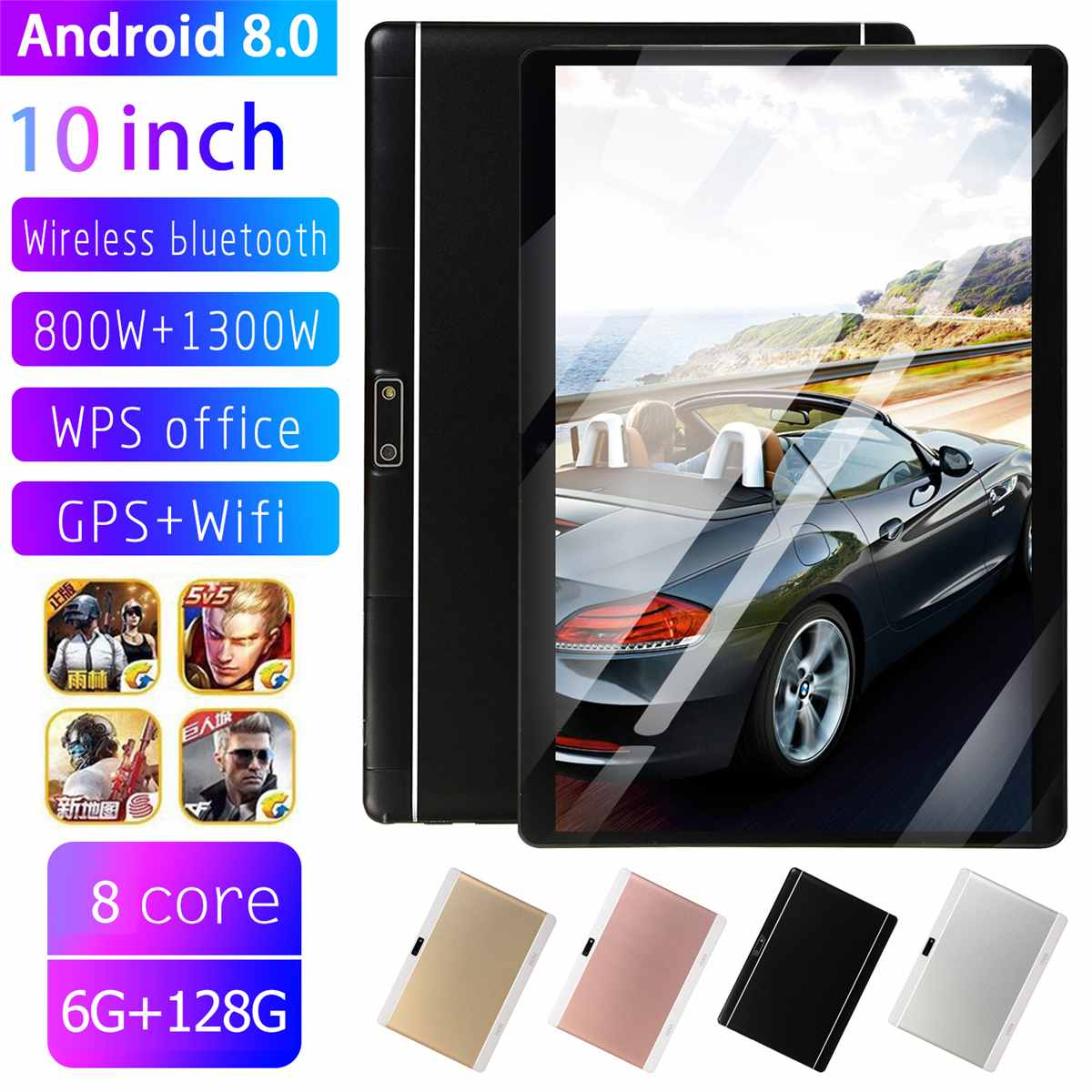 10.1 Inch HD Tablet PC 6+128GB 9000mAh Dual Cameras/SIMs Octa Cores 3G Call Tab Android 8.0 Tab GPS WIFi Bluetooth 4.0 Pad