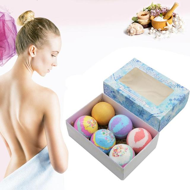 6pcs/set Soap Handmade Bath Bomb Ball Essential Oil Exfoliating Body Shower Bubble Salt Balls Skin Care Cleaning