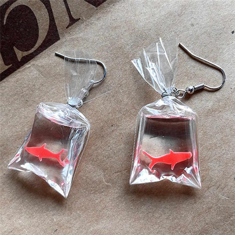 נשים אופנתי בנות Brincos אנטי אלרגיה חינני Eardrop הליצן מפואר חמוד קוי דגי מים תיק להתנדנד עגילי 5 cm/ 2in