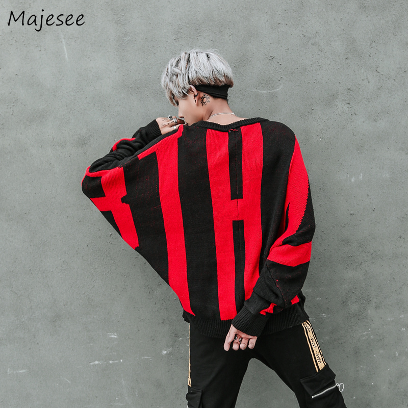 Sweaters Men O-Neck Printed Loose Simple All-match European Style Daily Soft Sweater Mens Bat Sleeve Hip Hop Knitting Clothing
