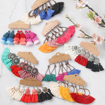 Bohemia Big Tassel Earring Sets Vintage Ethnic Bright Colors Long Fringe Earrings Set for Women Girl Statement Jewelry Gifts