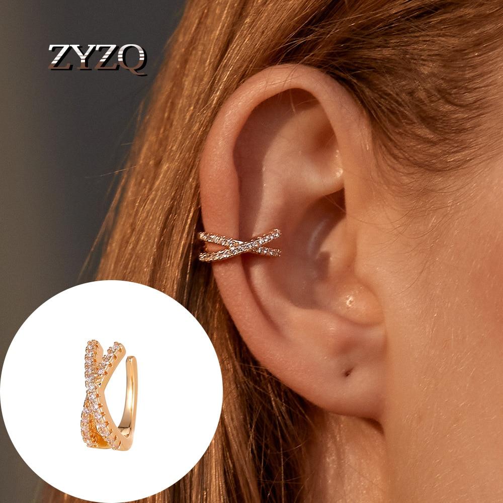 ZYZQ 1 Pcs Vintage Copper Cubic Zirconia Ear Clip Cuff Earrings for Women Girls Punk Simple Gold Color Circle No Piercing Bijoux