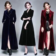 Женское бархатное пальто с запахом Черное длинное теплое отложным