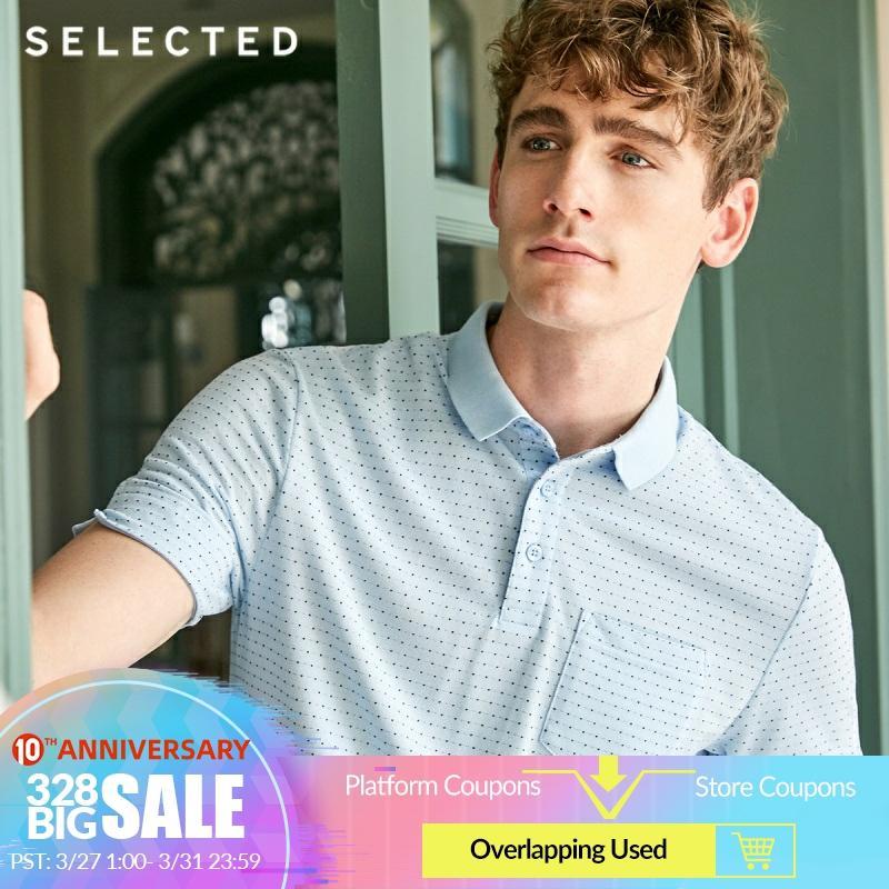 SELECTED Men's Summer Small Polka Dots Turn-down Collar Short-sleeved Poloshirt S 419206541