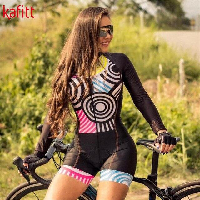 Kafitt PPro Team Triathlon de manga comprida macacão feminino em malha de ciclismo Maillot Cycling Wear Ropa ciclismo Gel Pad 4