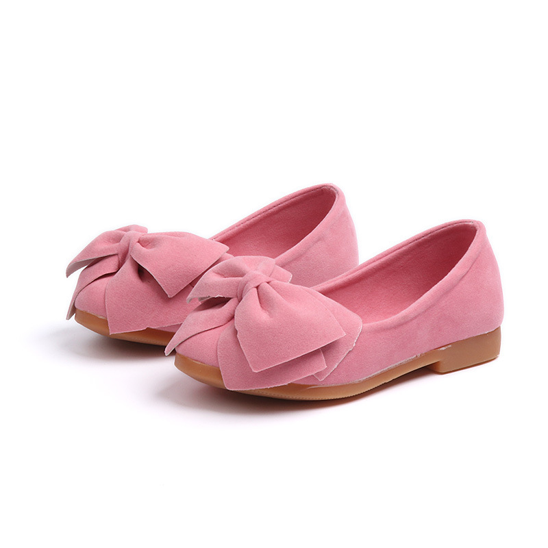 Baby Girls Shoes Toddlers Kids Flats Flock Fabric With Bow-knot Sweet Soft Children Flats Slip-on Dress Shoes Bowtie Drop Ship