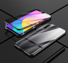 Luxury Case For Xiaomi Mi A3 Lite Double Tempered GlassTransparent Magnet Metal Cover On 9t Pro