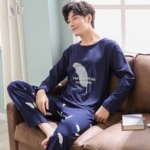 SAMWESTART 2020 Men's Pajama Sets Spring Long Sleeve Pants Male Pajamas Pure Full Cotton for Men Sleepwear Suit homewear