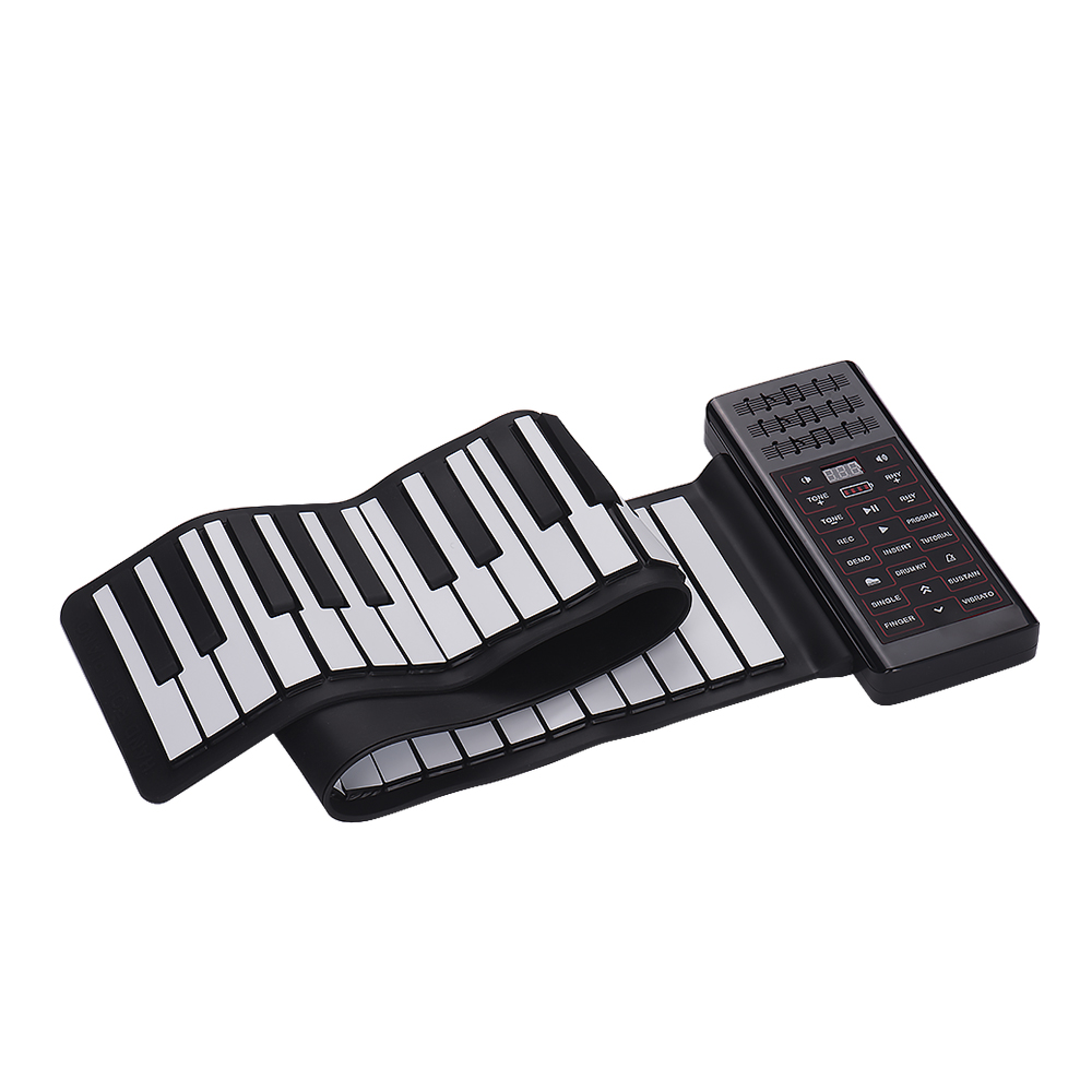 61 Keys Hand Roll Up Electric Piano Multifunction Portable Flexible Silicone Piano Keyboard Built-in Speaker Lithium Battery