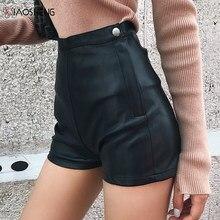 Mini jupe en cuir pour femmes, taille haute, noire, Sexy, mode non définie