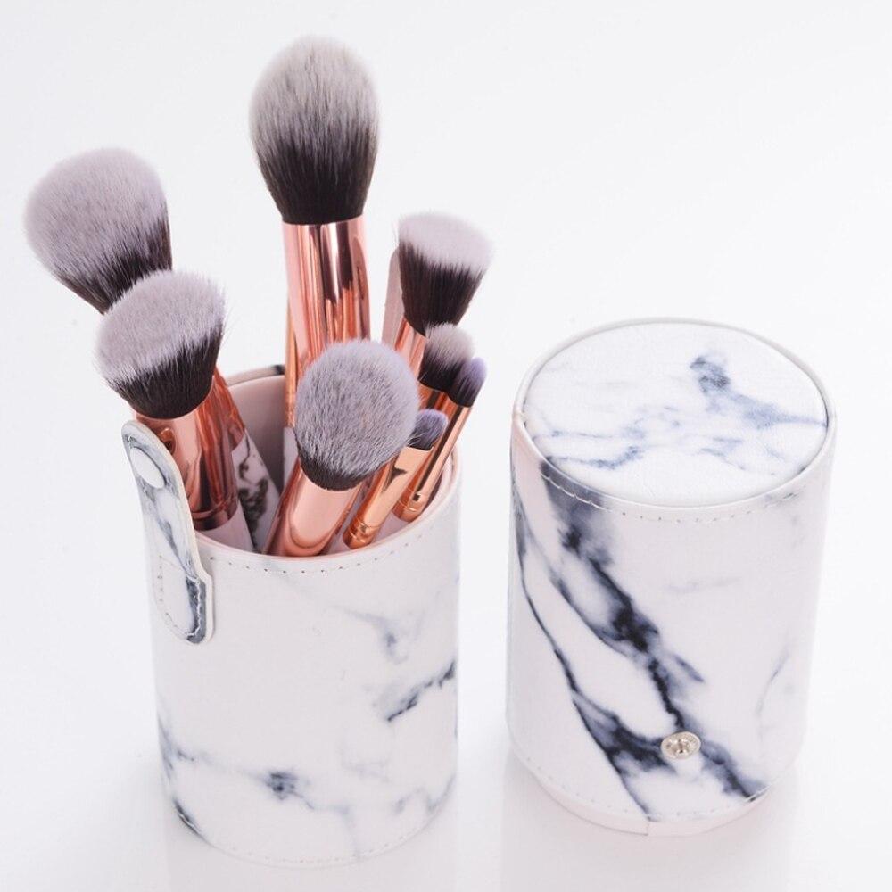1 Set 10 Support PU Marble Pattern Brush Tube Makeup Bucket Makeup Brush Storage Tool Portable Brushes Holder Bag Empty Storage