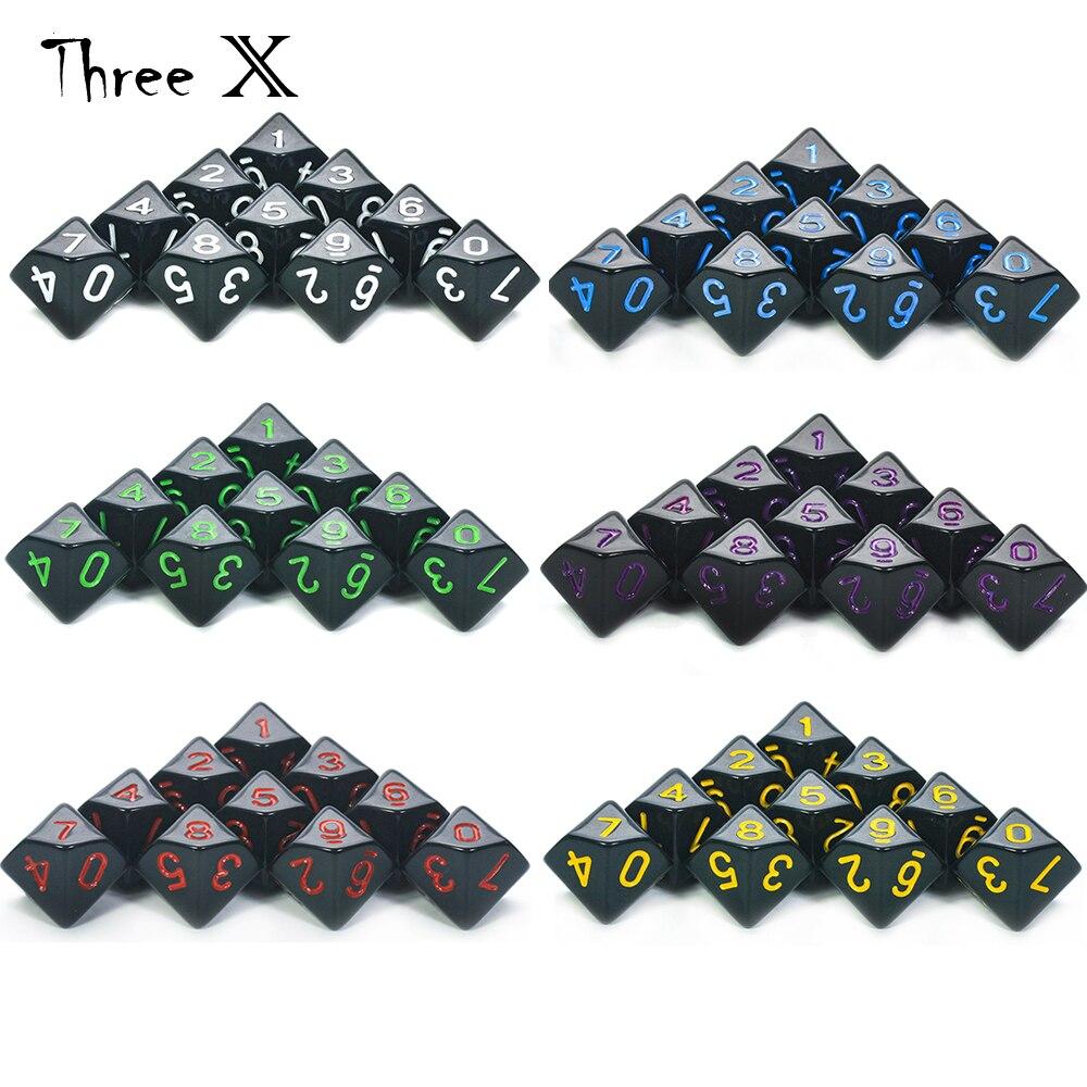 Jogo de dados d10-10 d10, perfeito para jogos de dados de matemática-rpg de mesa plástico poliédrico de 10 lados