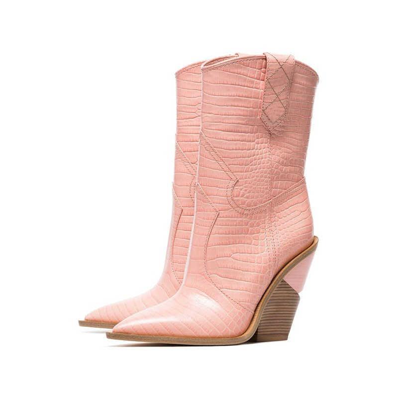 Mùa Xuân năm 2019 Mới Giày Da Bò Nữ Mũi Nhọn Giày Tây Da PU Giữa bắp chân Giày Bốt Nữ Chun Nêm giày Đường Băng