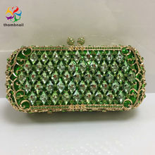 Irregular Shape Green Women Crystal Evening Clutch Bags Bridal Diamond Handbags Wedding Party Cocktail Purses(China)