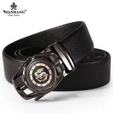 ManBang New Fashion Men Belt Cowskin leather business automatic buckle belt Cowhide for Jeans Men Design High Quality