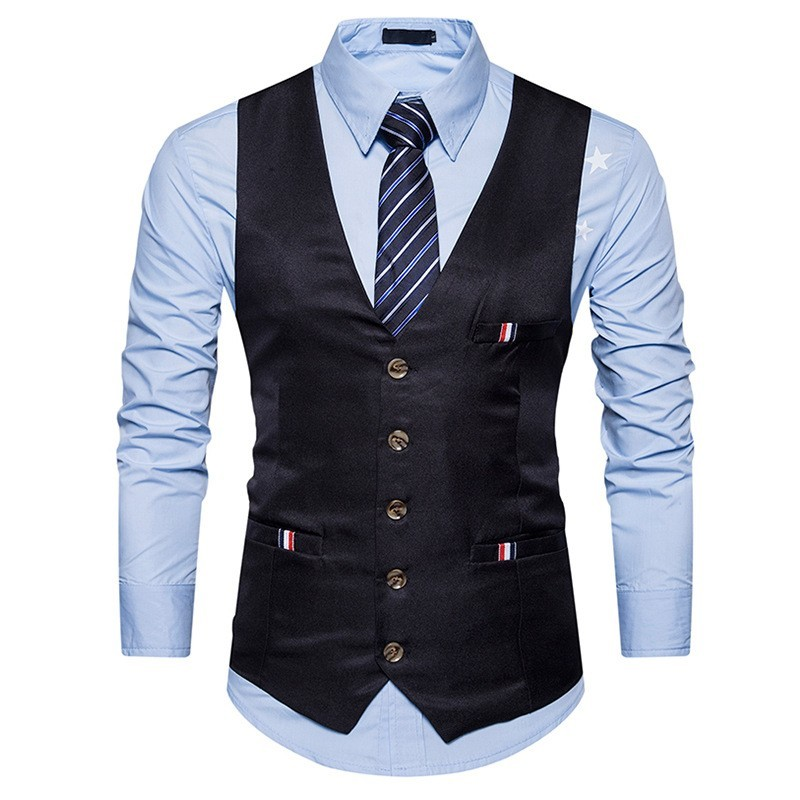 2020 New England Style Dress Vest Men Slim Fitness Casual Single Breasted Formal Suit Vest Blue White Sleeveless Jacket Male