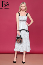 Baogarret Fashion Runway Summer Vacation Party Dresses Womens Spaghetti Strap Casual Dot Printed Ruched Holiday Long Dress