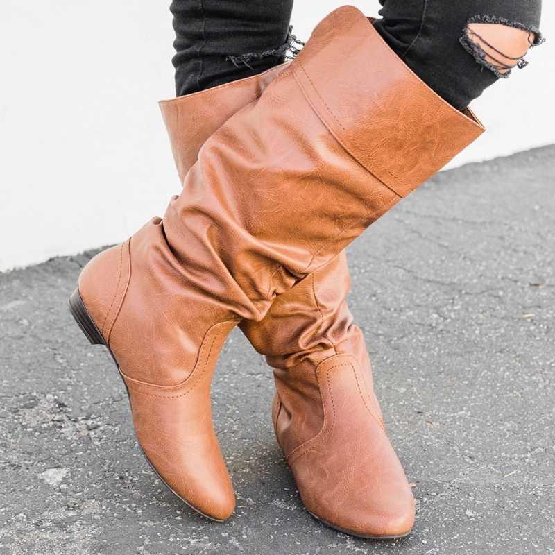 SHUJIN/женские высокие сапоги кожаные зимние ботинки женские повседневные