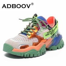 ADBOOV 2020 New Genuine Leather Fashion Sneakers Women Breathable Platform