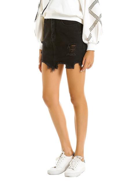 Women's Skirts Pencil Bud Black Solid Straight Hole Above Knee Mini  Empire Street Casual Nightclub Sexy Skirt 8
