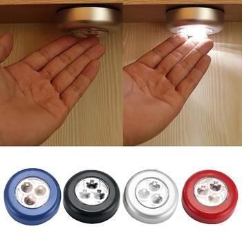 Cabinet Cupboard Closet 3LED Round Lamp Camping Tent Car Trunk Touch Night Light image