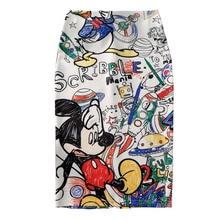 Women's Pencil skirt 2019 New Cartoon Mouse Print High Waist Slim Skirts Young Girl Summer Large Size Japan Female Falda SP534