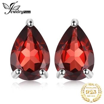 JewelryPalace 1.8ct Pear Genuine Garnet Stud Earrings 925 Sterling Silver For Women Korean Earings Fashion Jewelry 2020