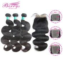 Berrys موضة الجسم موجة حزم مع 4x4 & 5x5 & 6x6 إغلاق البرازيلي نسيج شعر بكر 100% وصلة إطالة شعر طبيعي 10 28 بوصة