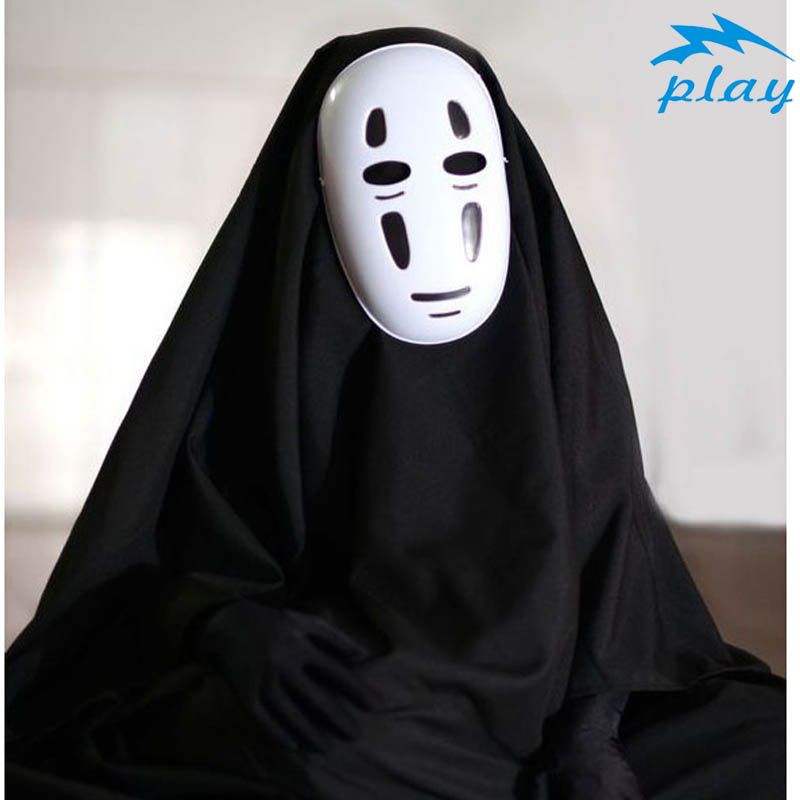 SATCOPY No Face Man Anime Miyazaki Hayao Spirited Away Kaonashi  Cosplay Cloak Full Set Halloween Costume Robe+Mask+Gloves