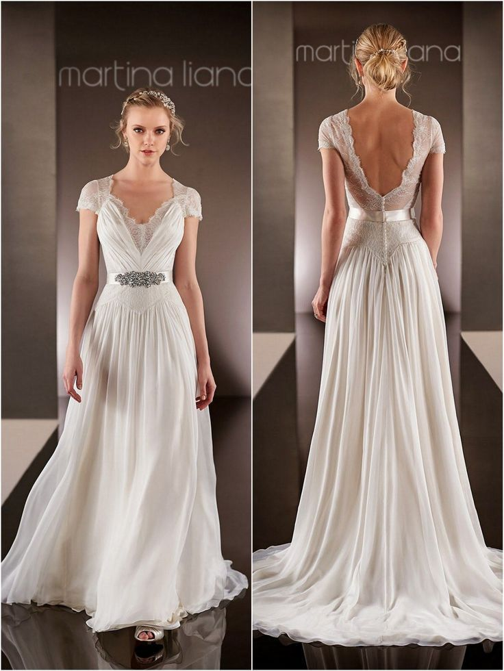 Romantic Summer Style Beach Wedding Dress 2016 Lace V Neck Short Sleeve Backless Vestido De Noiva Sashes Chiffon Bridal Gowns