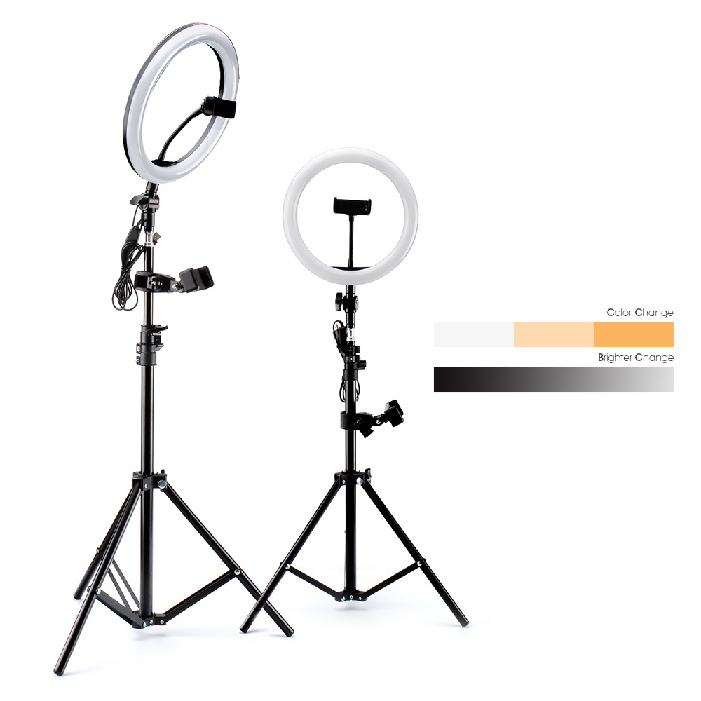 Светодиодный светильник с кольцом, светильник для фотосъемки, лампа для селфи с регулируемой яркостью USB, с зажимом для штатива, для Youtube, для макияжа, видео, для студийной фотосъемки|Фотографическое освещение|   | АлиЭкспресс