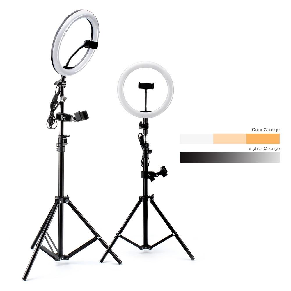 Anel de luz led fotografia iluminação selfie lâmpada usb pode ser escurecido com tripé telefone clipe para youtube maquiagem vídeo ao vivo photo studio